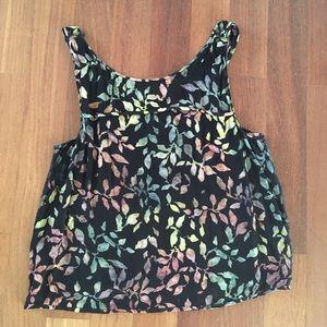 Zara medium adjustable open-back flowered blouse